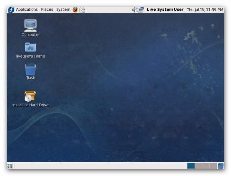 Live system desktop